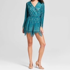 Teal Lace Romper
